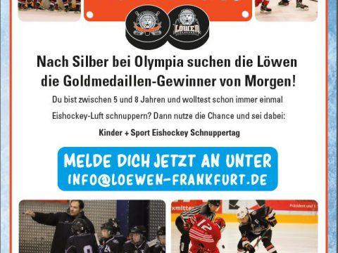 Kinder + Sport Eishockey Schnuppertag bei den Löwen Frankfurt